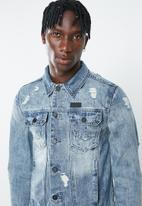 S.P.C.C. - Denim jacket with back print - blue