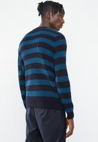 Superbalist - Stripe chunky pullover knit - navy & blue