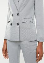 dailyfriday - Double breasted blazer with ruffle detail - black & white