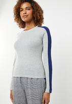 ONLY - Ida long sleeve panel pullover knit - grey