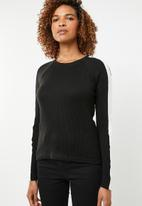 ONLY - Ida long sleeve panel pullover knit - black