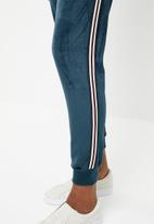 Brave Soul - Velour joggers with side tape - navy