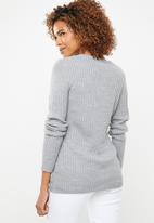 edit - Essentiall ribbed v neck jersey  - grey