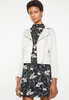 New Look - Mila suedette biker jacket - grey