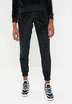 Brave Soul - Velour joggers with side tape - black