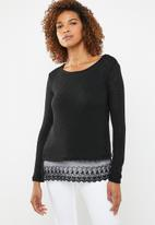edit - Knit top with lace border - black