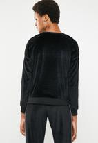Brave Soul - velour sweatshirt with side tape - black