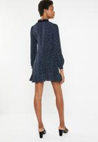 Brave Soul - Long sleeve floral dress with bow detail - navy