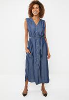 G Couture - Button down tencil dress - blue