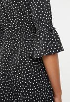 Brave Soul - Polka dot bell sleeve dress - black