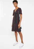 Brave Soul - Stripe empire unlined midi dress - navy