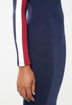 Brave Soul - Long sleeve bodycon midi with side stripe - navy
