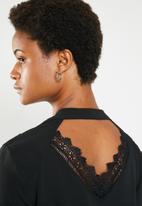 Brave Soul - Long sleeve blouse with back cut out lace detail - black