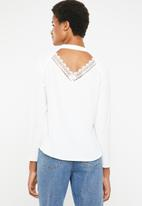 Brave Soul - long sleeve blouse with back cut out lace detail - white