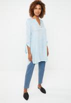G Couture - Tunic with sleeve ties and blanket stitch - blue