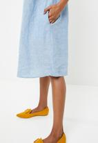 G Couture - Linen tunic with rouching and pockets - blue