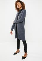 edit - Ribbed open front cardigan - navy