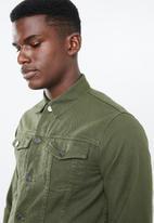 Superbalist - Colour Slim Denim Trucker Jacket - khaki