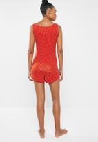 Missguided - Button front sleeveless teddy - red & white