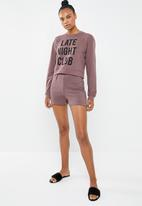 Missguided - Late night club shorts set - pale burgundy
