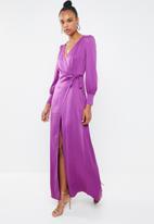 Missguided - Satin tie side maxi dress - purple