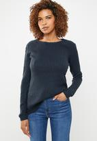 edit - Essential ribbed round neck jersey - navy