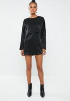 Missguided - Oversized overlay dress - black