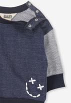 Cotton On - Skyler drop shoulder crew - blue & grey