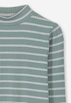 Cotton On - Ellie long sleeve rib tee - green & white