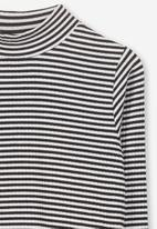 Cotton On - Ellie long sleeve rib top - black & white