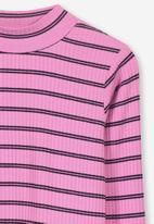 Cotton On - Ellie long sleeve rib top - pink