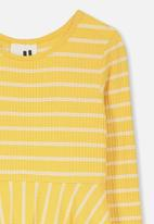 Cotton On - Riley long sleeve dress - yellow and white