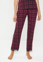 New Look - M&M check trouser - red & navy