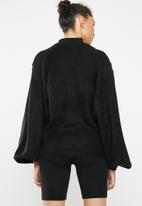 Brave Soul - Lightweight ribbed jersey with balloon sleeve - black