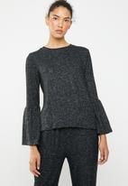 Brave Soul - Long sleeve top with bell sleeves - charcoal