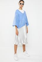 Brave Soul - Lightweight ribbed jersey with balloon sleeve - blue