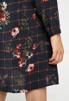 Brave Soul - Floral grid tie neck dress - navy