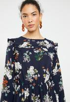 Brave Soul - Long sleeve pleat and ruffle floral dress - navy