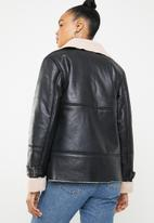 Missguided - Contrast borg aviator jacket - black
