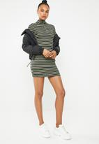 Missguided - High neck stripe bodycon zip front dress - multi