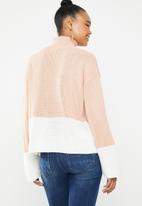 Missguided - Colour block high neck jumper - pink & white