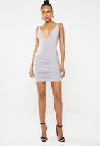 Missguided - Slinky cross back ruched side dress - grey