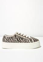 Cotton On - Canvas platform zebra print sneaker - beige & black