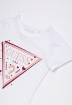 GUESS -  Short sleeve ombre bling tee - white