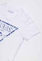 GUESS - Short sleeve cracked tri tee - white