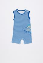 Baby Corner - Dino striped sleepsuit - navy & white