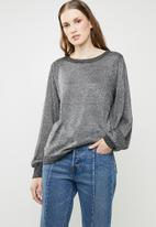 Brave Soul - Metallic jersey with balloon sleeves - silver