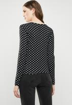 Brave Soul - Long sleeve polka dot top with ruched detail - black