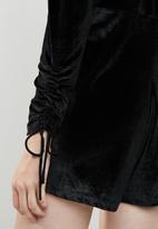 Brave Soul - V-neck playsuit with ruched sleeves - black