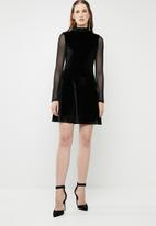 Brave Soul - Turtle neck dress with mesh sleeves - black